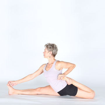 Ardha Bheka-Hanumanasana; Pose named for Sage Hanuman with half-frog variation